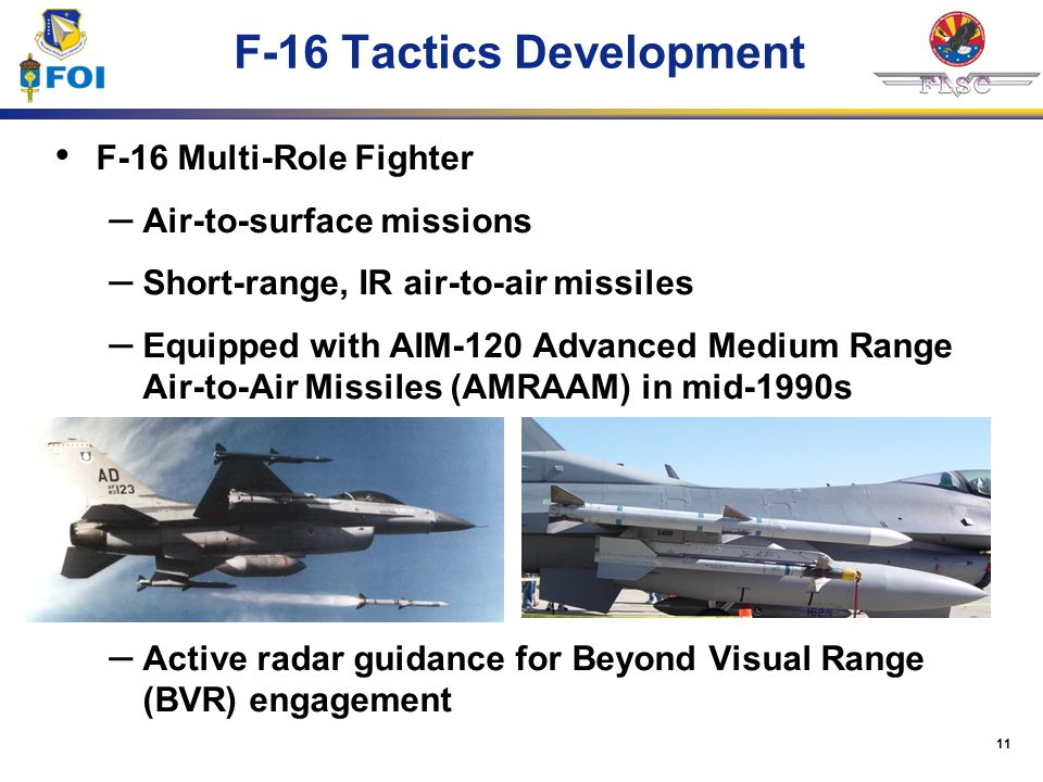 11 F-16 Tactics Development F-16 Multi-Role Fighter – Air-to-surface missions – Short-range, IR air-to-air missiles – Equipped with AIM-120 Advanced M