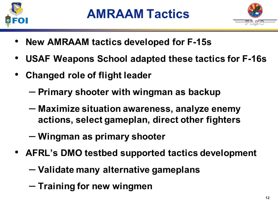 12 AMRAAM Tactics New AMRAAM tactics developed for F-15s USAF Weapons School adapted these tactics for F-16s Changed role of flight leader – Primary s