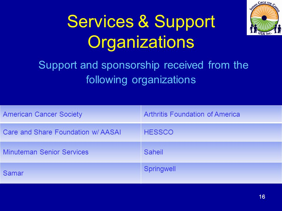 Services & Support Organizations Support and sponsorship received from the following organizations American Cancer SocietyArthritis Foundation of America Care and Share Foundation w/ AASAIHESSCO Minuteman Senior ServicesSaheil Samar Springwell 16