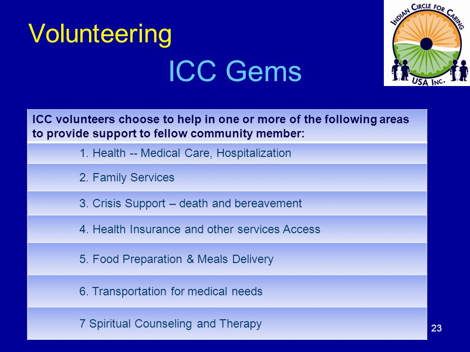 Volunteering ICC Gems ICC volunteers choose to help in one or more of the following areas to provide support to fellow community member: 1. Health --