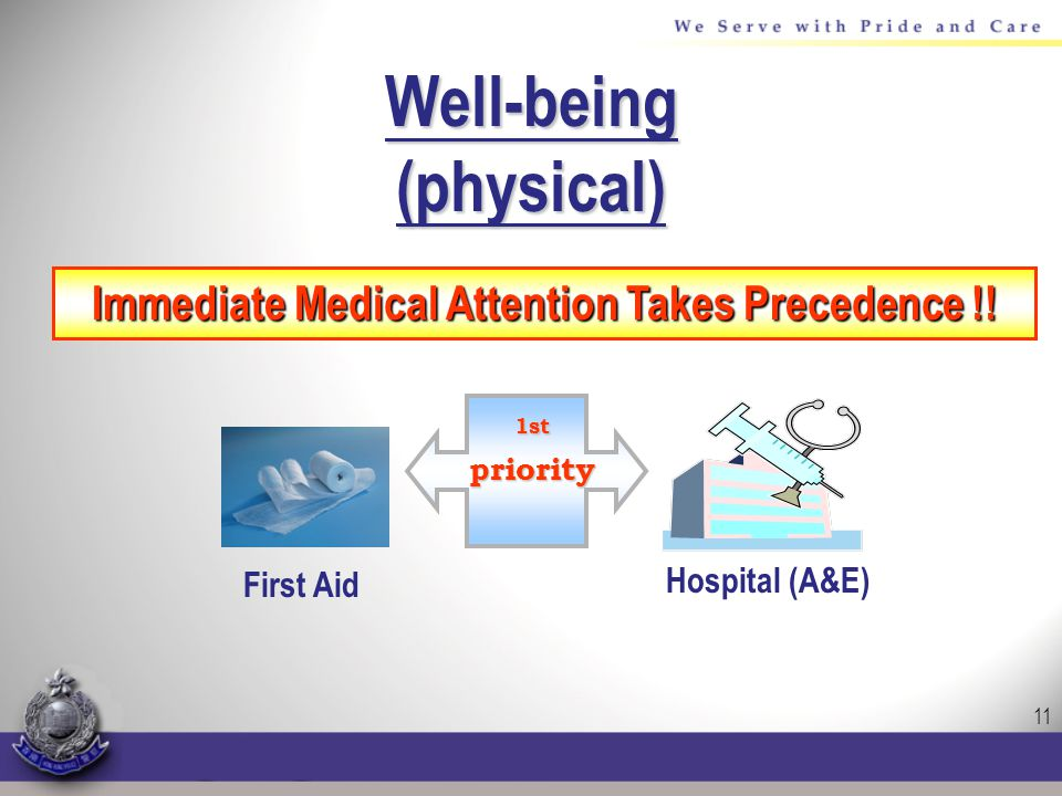 11 Well-being(physical) Immediate Medical Attention Takes Precedence !.