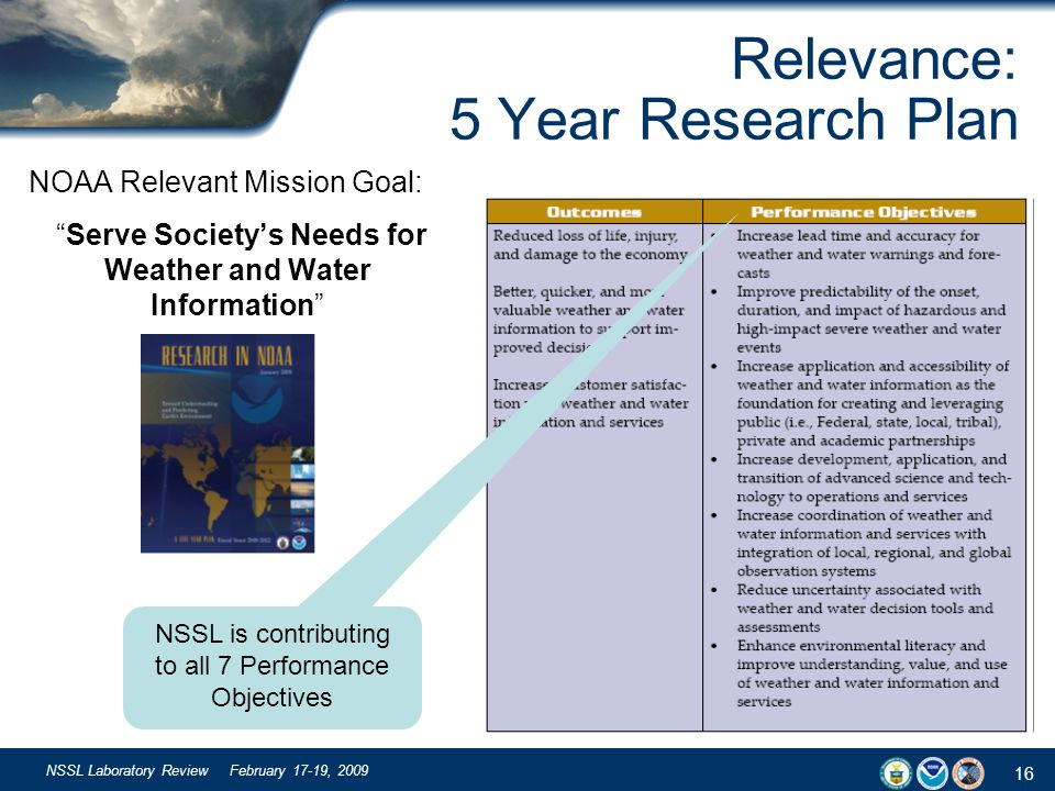 16 NSSL Laboratory Review February 17-19, 2009 Relevance: 5 Year Research Plan NOAA Relevant Mission Goal: Serve Societys Needs for Weather and Water Information NSSL is contributing to all 7 Performance Objectives