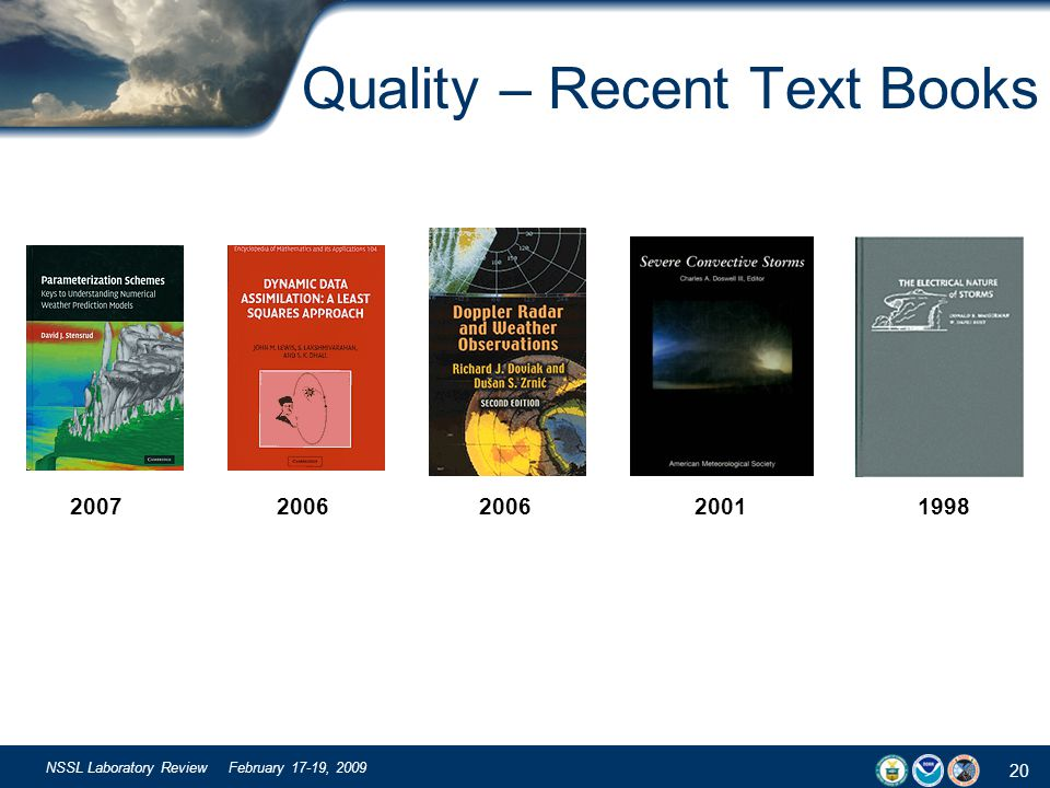 20 NSSL Laboratory Review February 17-19, 2009 Quality – Recent Text Books 2007 2006 2006 2001 1998