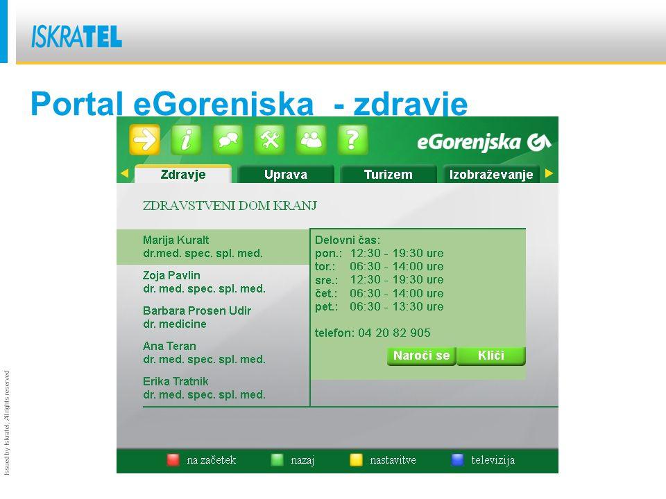 Issued by Iskratel; All rights reserved Portal eGorenjska - zdravje