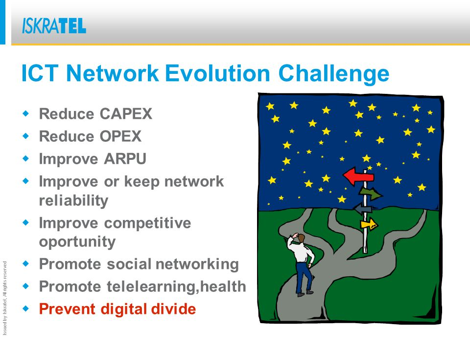Issued by Iskratel; All rights reserved ICT Network Evolution Challenge Reduce CAPEX Reduce OPEX Improve ARPU Improve or keep network reliability Improve competitive oportunity Promote social networking Promote telelearning,health Prevent digital divide