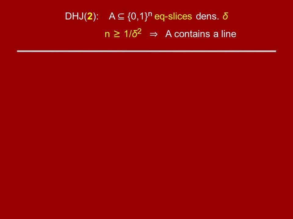 DHJ(2): A {0,1} n eq-slices dens. δ n 1/δ 2 A contains a line