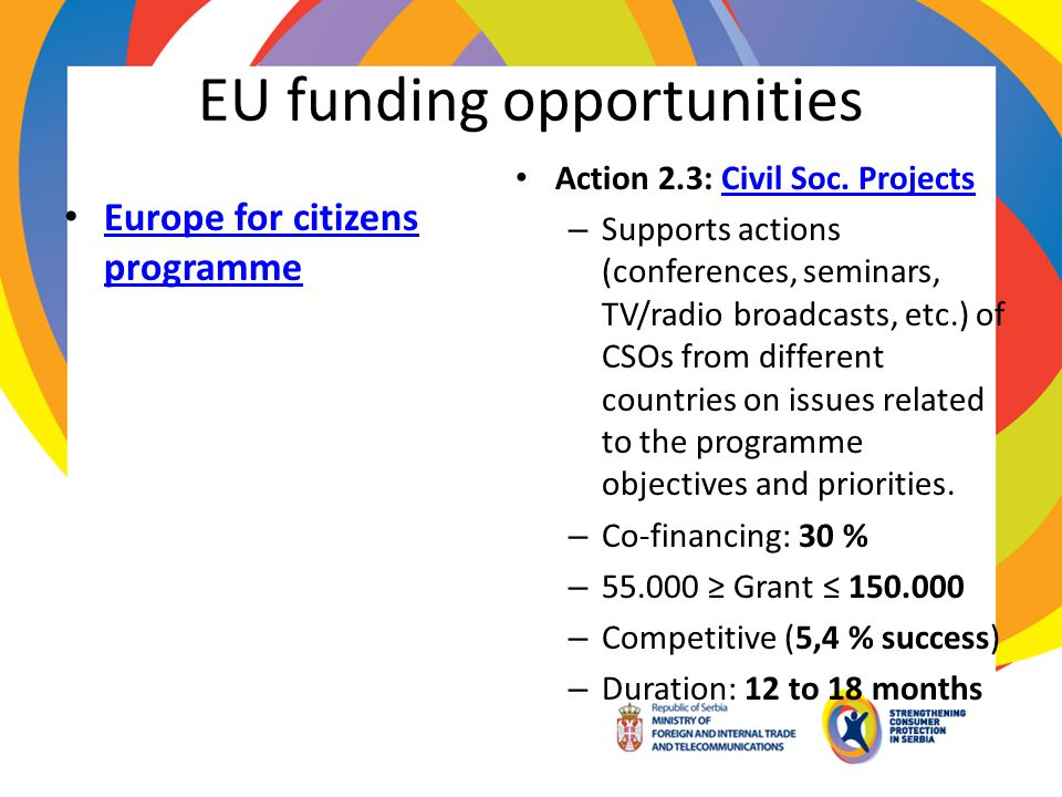 EU funding opportunities Europe for citizens programme Europe for citizens programme Action 2.3: Civil Soc. ProjectsCivil Soc. Projects – Supports act