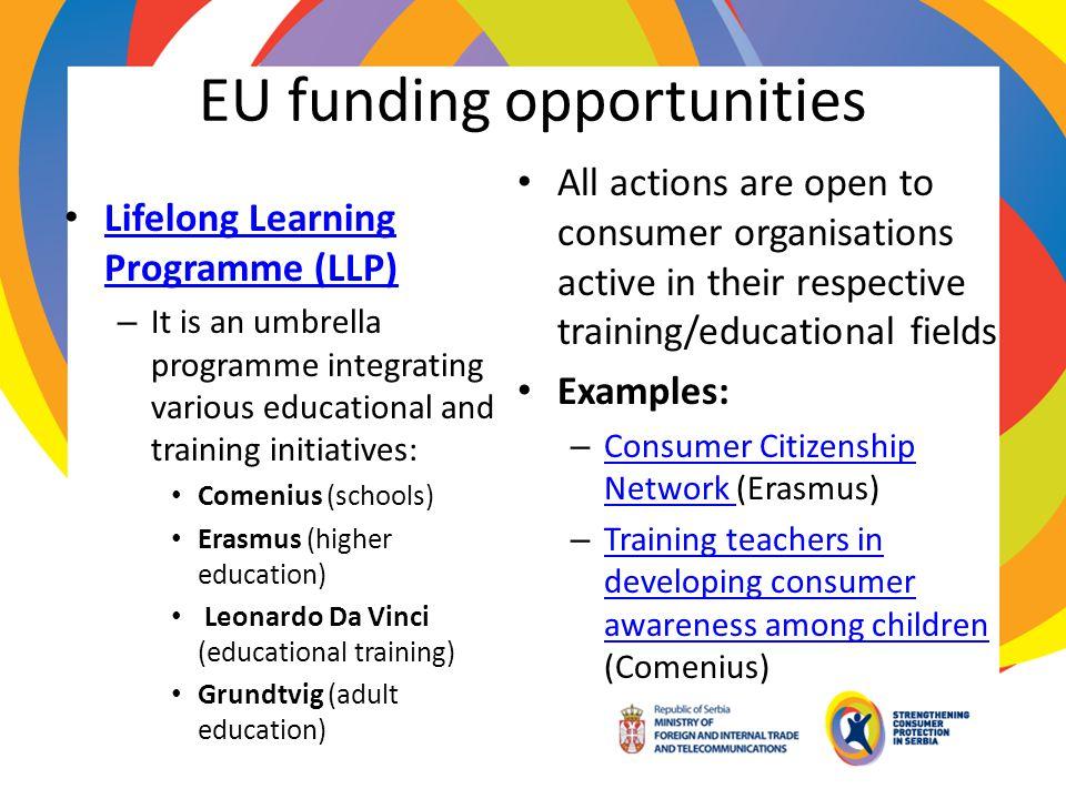 EU funding opportunities Lifelong Learning Programme (LLP) Lifelong Learning Programme (LLP) – It is an umbrella programme integrating various educati
