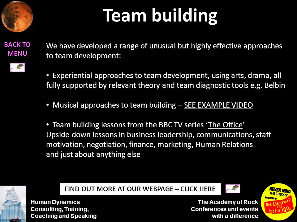 Human Dynamics Consulting, Training, Coaching and Speaking The Academy of Rock Conferences and events with a difference Team building BACK TO MENU FIND OUT MORE AT OUR WEBPAGE – CLICK HERE We have developed a range of unusual but highly effective approaches to team development: Experiential approaches to team development, using arts, drama, all fully supported by relevant theory and team diagnostic tools e.g.