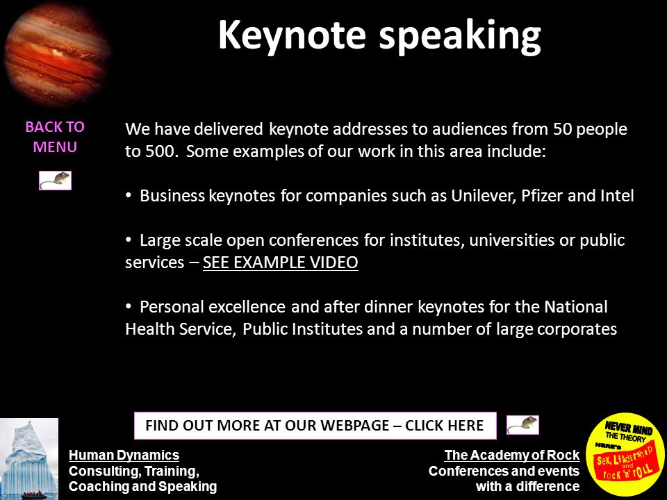 Human Dynamics Consulting, Training, Coaching and Speaking The Academy of Rock Conferences and events with a difference Development programmes BACK TO MENU Where our clients have required a sustained development programme rather than one-off courses to target a specific need we have devised bespoke development programmes.