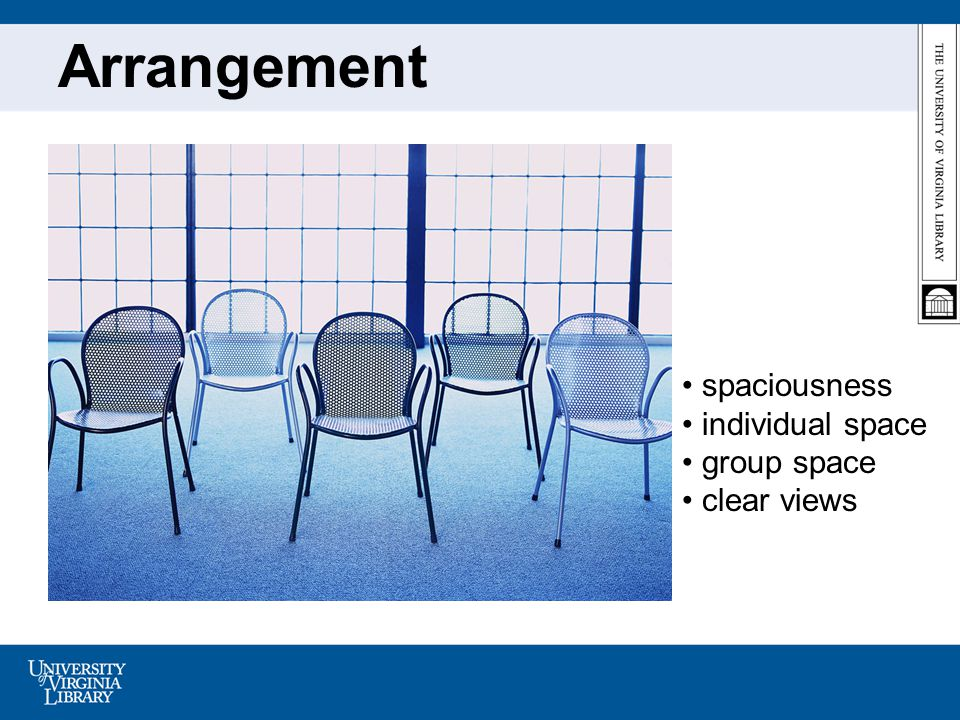Arrangement spaciousness individual space group space clear views