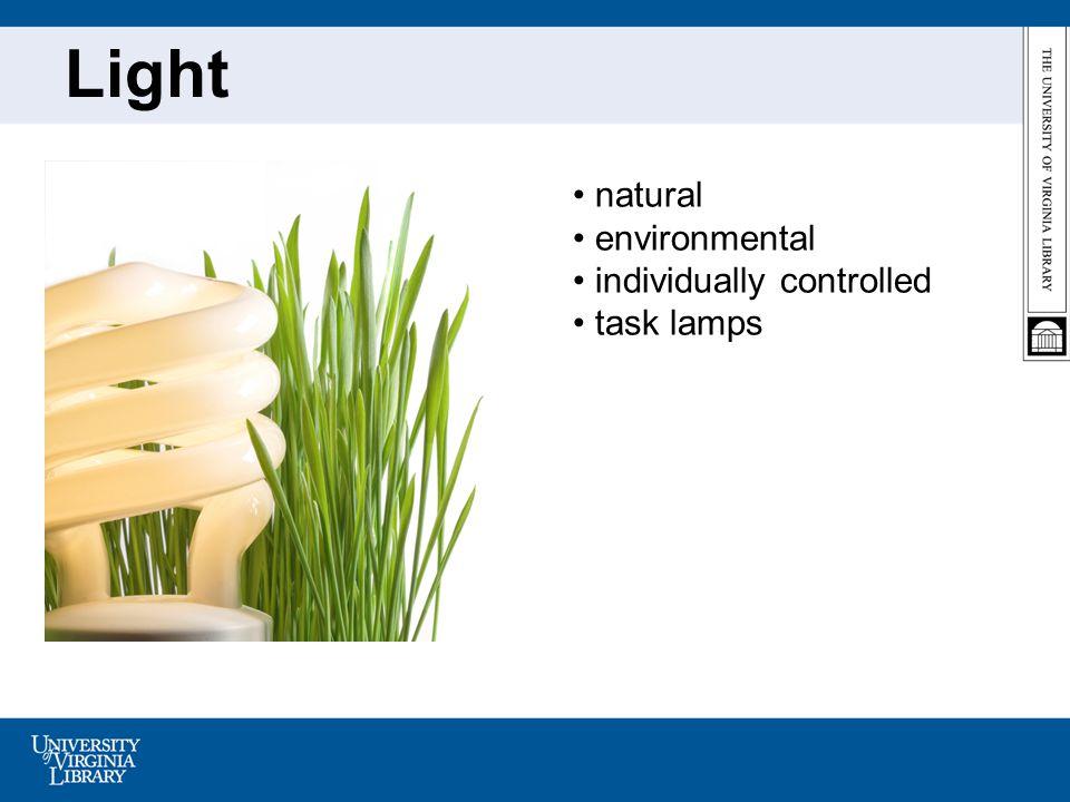 Light natural environmental individually controlled task lamps