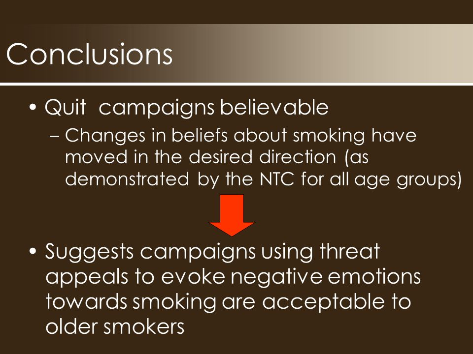 Conclusions Quit campaigns believable –Changes in beliefs about smoking have moved in the desired direction (as demonstrated by the NTC for all age groups) Suggests campaigns using threat appeals to evoke negative emotions towards smoking are acceptable to older smokers