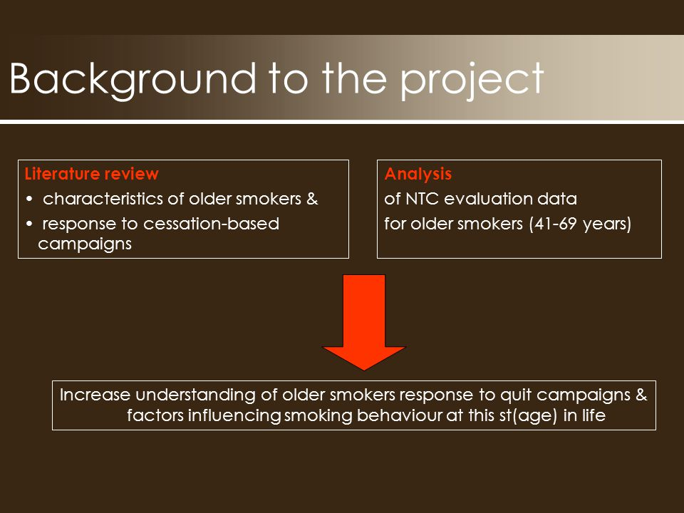 Background to the project Analysis of NTC evaluation data for older smokers (41-69 years) Literature review characteristics of older smokers & response to cessation-based campaigns Increase understanding of older smokers response to quit campaigns & factors influencing smoking behaviour at this st(age) in life