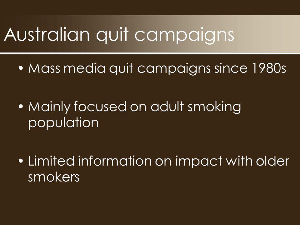 Australian quit campaigns Quit campaigns (VIC) Make Smoking History (WA) NTC (National)