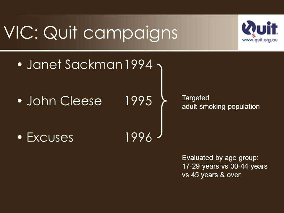 VIC: Quit campaigns Janet Sackman1994 John Cleese1995 Excuses1996 Targeted adult smoking population Evaluated by age group: 17-29 years vs 30-44 years vs 45 years & over