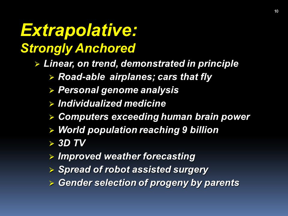 Extrapolative: Strongly Anchored Linear, on trend, demonstrated in principle Linear, on trend, demonstrated in principle Road-able airplanes; cars that fly Road-able airplanes; cars that fly Personal genome analysis Personal genome analysis Individualized medicine Individualized medicine Computers exceeding human brain power Computers exceeding human brain power World population reaching 9 billion World population reaching 9 billion 3D TV 3D TV Improved weather forecasting Improved weather forecasting Spread of robot assisted surgery Spread of robot assisted surgery Gender selection of progeny by parents Gender selection of progeny by parents 10