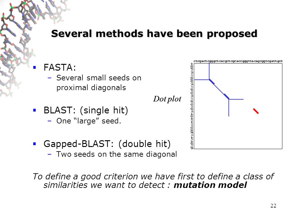 22 Several methods have been proposed FASTA: –Several small seeds on proximal diagonals BLAST: (single hit) –One large seed.