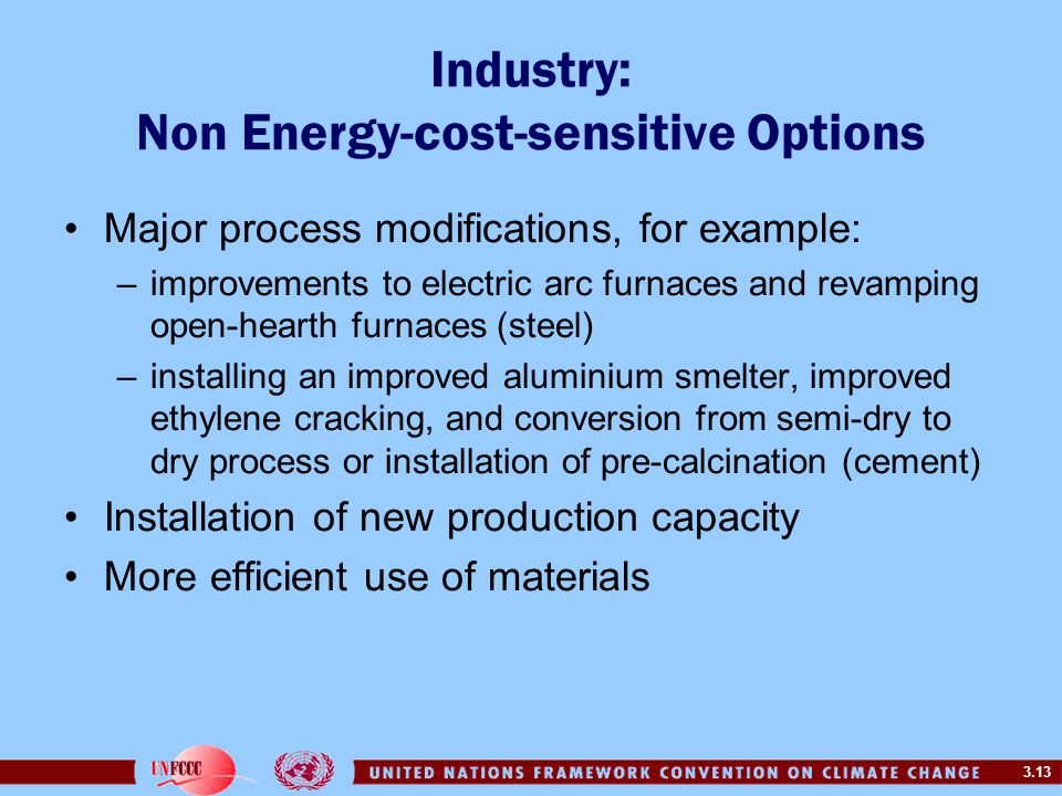 3.13 Major process modifications, for example: –improvements to electric arc furnaces and revamping open-hearth furnaces (steel) –installing an improv