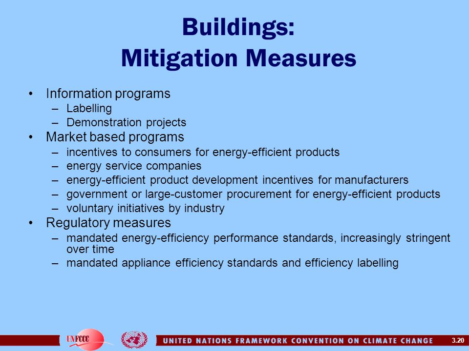 3.20 Buildings: Mitigation Measures Information programs –Labelling –Demonstration projects Market based programs –incentives to consumers for energy-