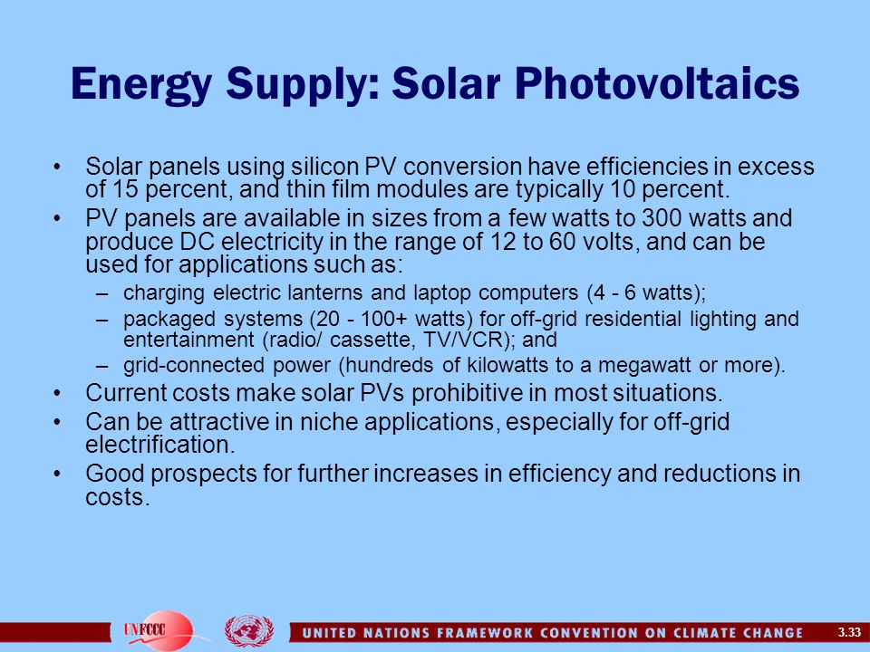 3.33 Energy Supply: Solar Photovoltaics Solar panels using silicon PV conversion have efficiencies in excess of 15 percent, and thin film modules are