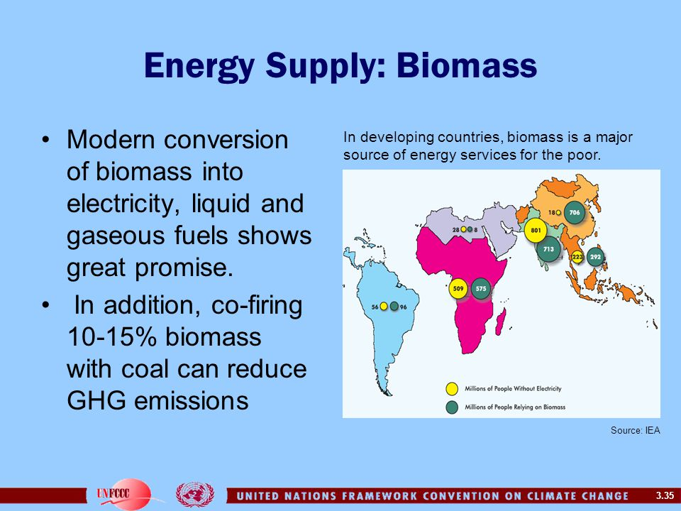 3.35 Energy Supply: Biomass Modern conversion of biomass into electricity, liquid and gaseous fuels shows great promise. In addition, co-firing 10-15%