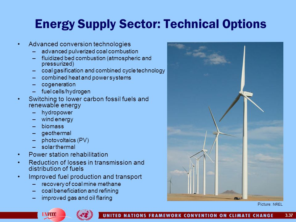 3.37 Energy Supply Sector: Technical Options Advanced conversion technologies –advanced pulverized coal combustion –fluidized bed combustion (atmosphe