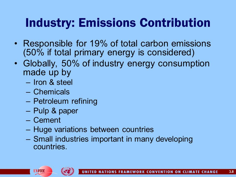 3.8 Industry: Emissions Contribution Responsible for 19% of total carbon emissions (50% if total primary energy is considered) Globally, 50% of indust