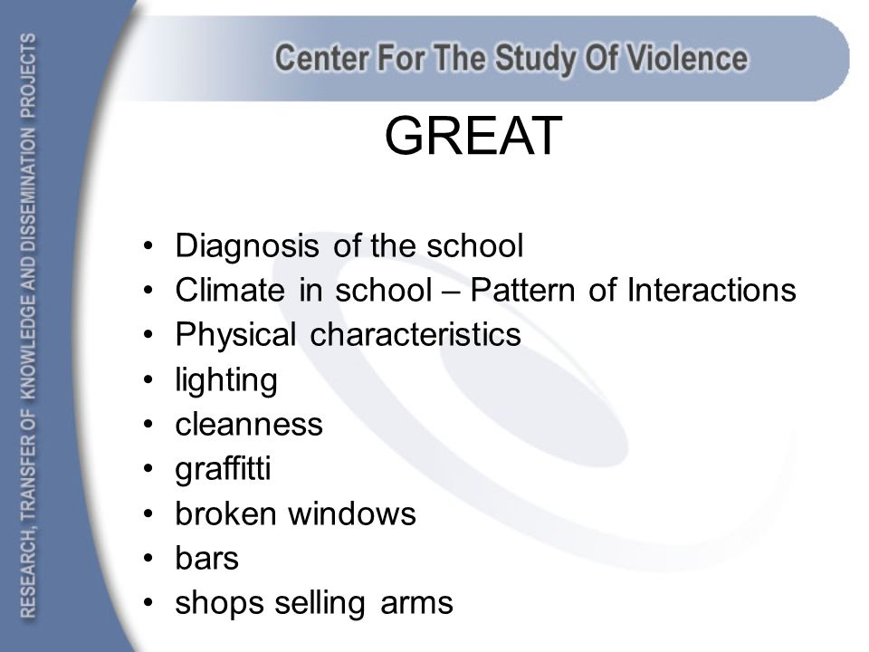 GREAT Diagnosis of the school Climate in school – Pattern of Interactions Physical characteristics lighting cleanness graffitti broken windows bars shops selling arms