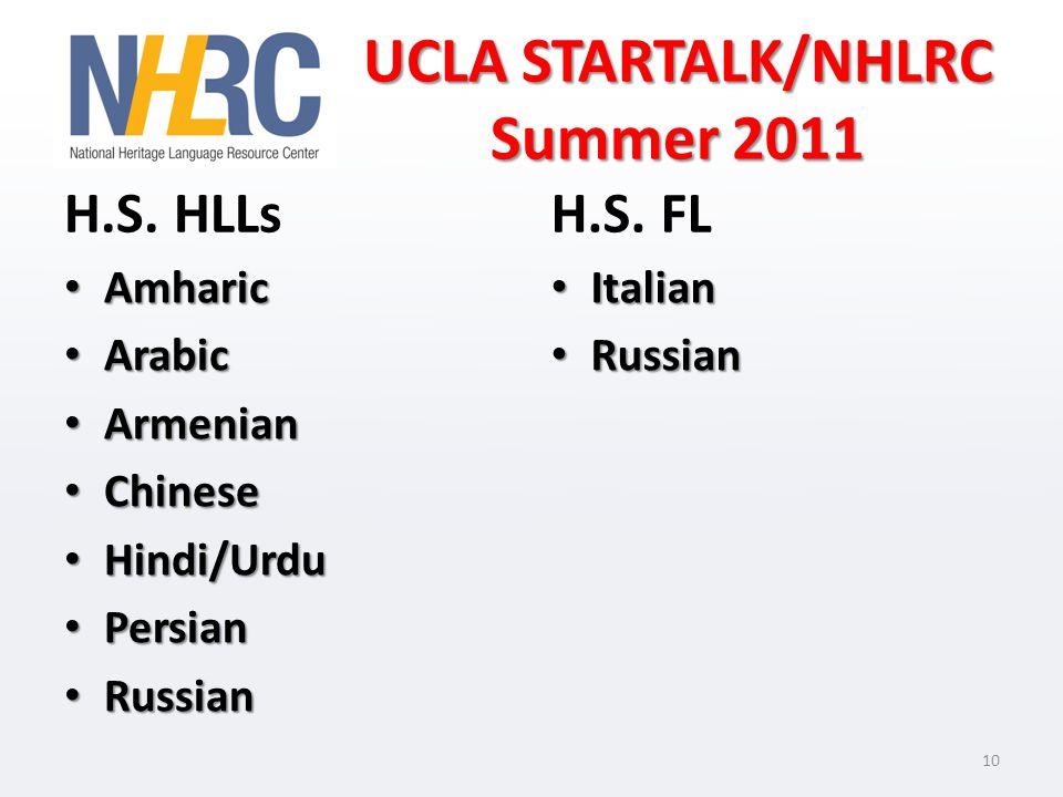 UCLA STARTALK/NHLRC Summer 2011 H.S. HLLs Amharic Amharic Arabic Arabic Armenian Armenian Chinese Chinese Hindi/Urdu Hindi/Urdu Persian Persian Russia