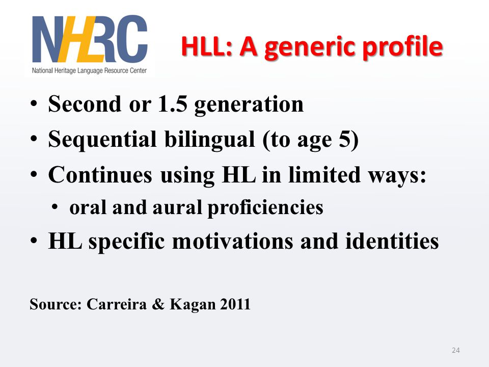 HLL: A generic profile Second or 1.5 generation Sequential bilingual (to age 5) Continues using HL in limited ways: oral and aural proficiencies HL specific motivations and identities Source: Carreira & Kagan 2011 24