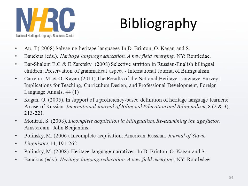Bibliography Au, T.( 2008) Salvaging heritage languages In D.
