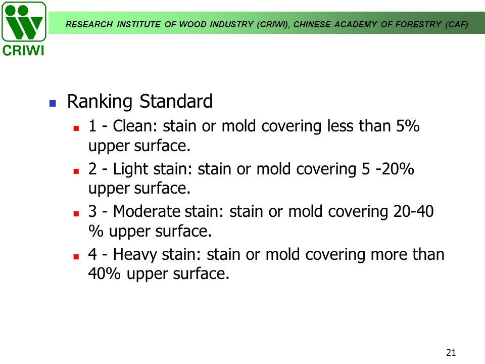 RESEARCH INSTITUTE OF WOOD INDUSTRY (CRIWI), CHINESE ACADEMY OF FORESTRY (CAF) 21 Ranking Standard 1 - Clean: stain or mold covering less than 5% uppe