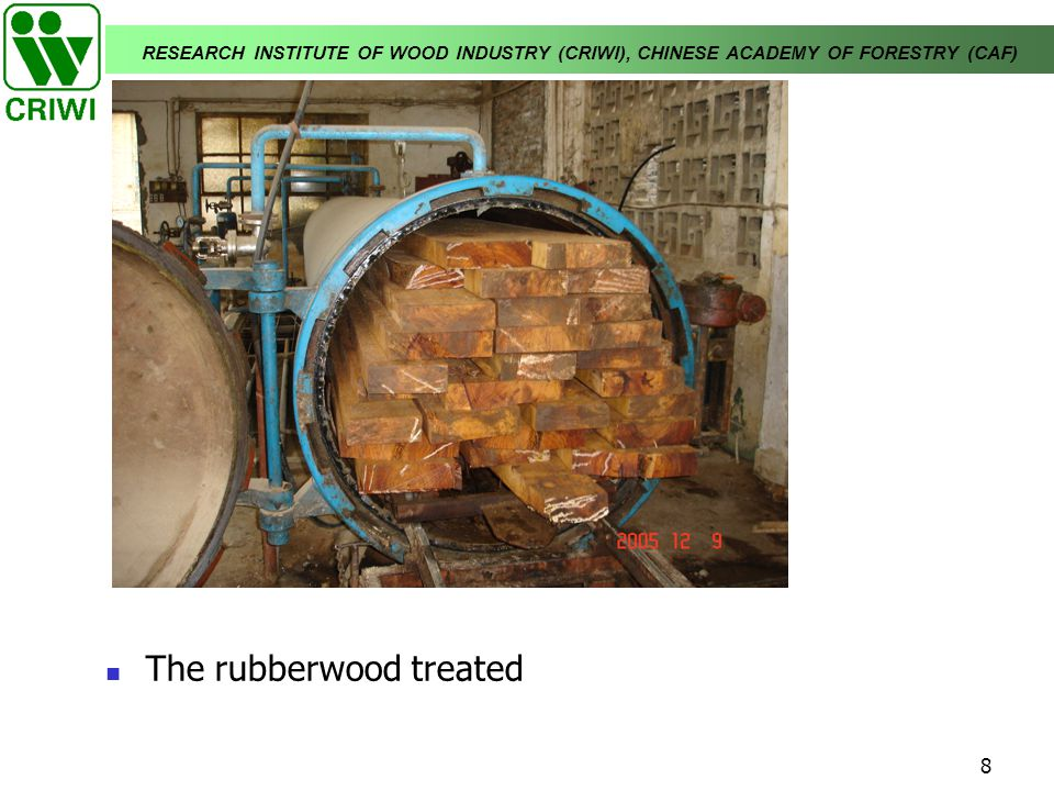 RESEARCH INSTITUTE OF WOOD INDUSTRY (CRIWI), CHINESE ACADEMY OF FORESTRY (CAF) 8 The rubberwood treated
