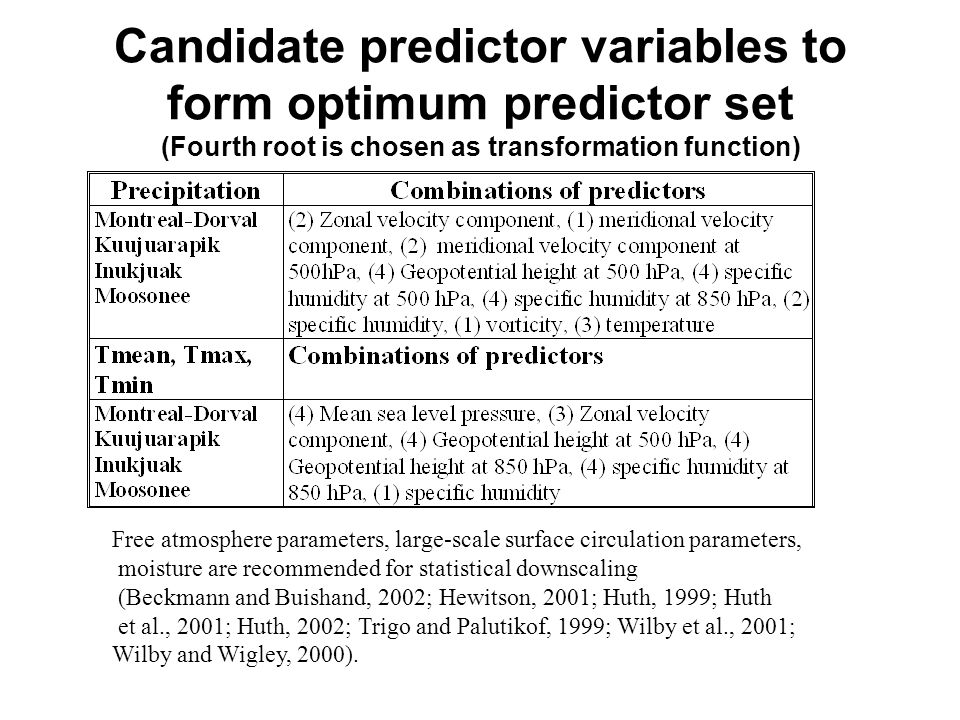 Candidate predictor variables to form optimum predictor set (Fourth root is chosen as transformation function) Free atmosphere parameters, large-scale surface circulation parameters, moisture are recommended for statistical downscaling (Beckmann and Buishand, 2002; Hewitson, 2001; Huth, 1999; Huth et al., 2001; Huth, 2002; Trigo and Palutikof, 1999; Wilby et al., 2001; Wilby and Wigley, 2000).