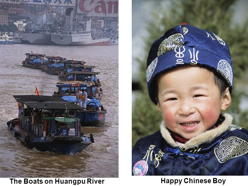The Boats on Huangpu River Happy Chinese Boy