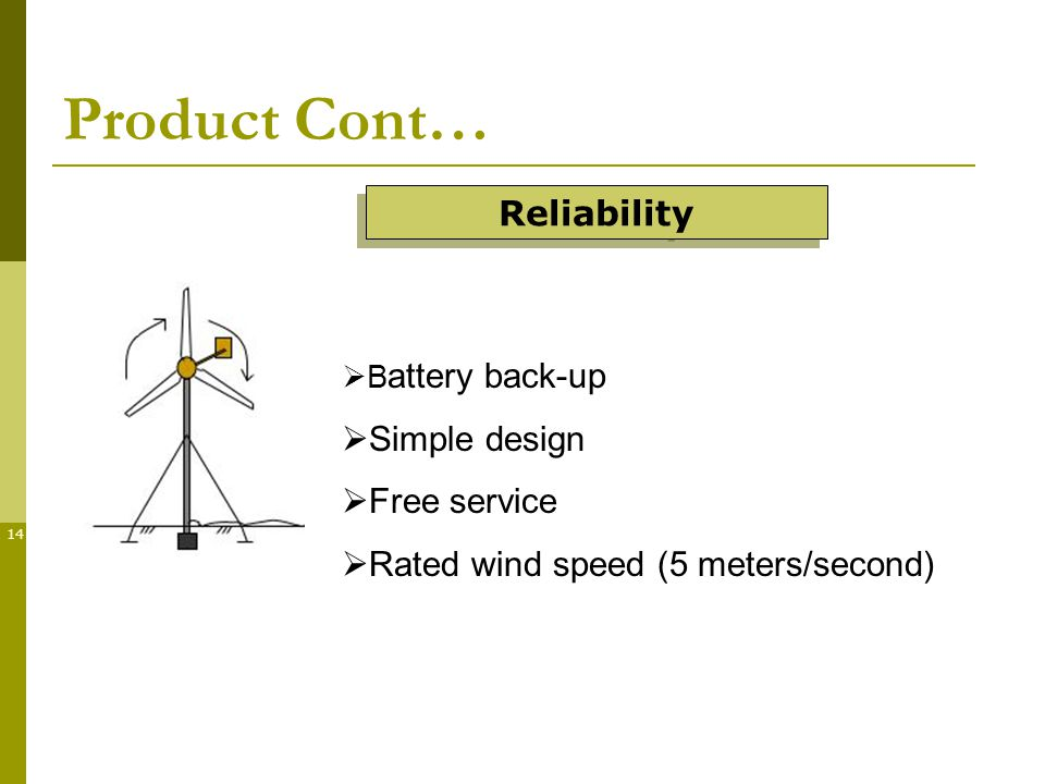14 Product Cont… B attery back-up Simple design Free service Rated wind speed (5 meters/second) Reliability