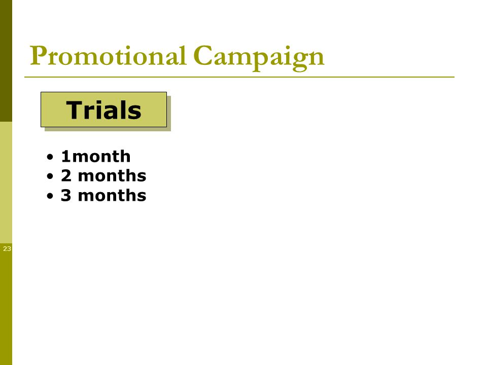 23 Promotional Campaign Trials 1month 2 months 3 months