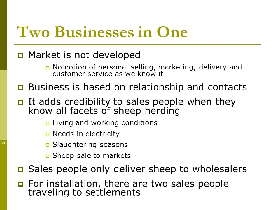 28 Two Businesses in One Market is not developed No notion of personal selling, marketing, delivery and customer service as we know it Business is based on relationship and contacts It adds credibility to sales people when they know all facets of sheep herding Living and working conditions Needs in electricity Slaughtering seasons Sheep sale to markets Sales people only deliver sheep to wholesalers For installation, there are two sales people traveling to settlements