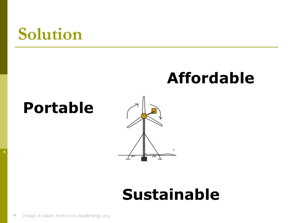 4 Solution Portable Affordable Sustainable * * Image is taken from