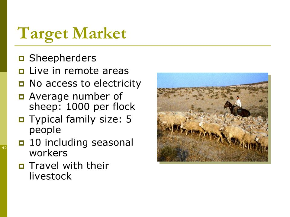 42 Target Market Sheepherders Live in remote areas No access to electricity Average number of sheep: 1000 per flock Typical family size: 5 people 10 including seasonal workers Travel with their livestock
