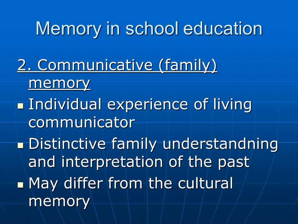 Memory in school education 2.