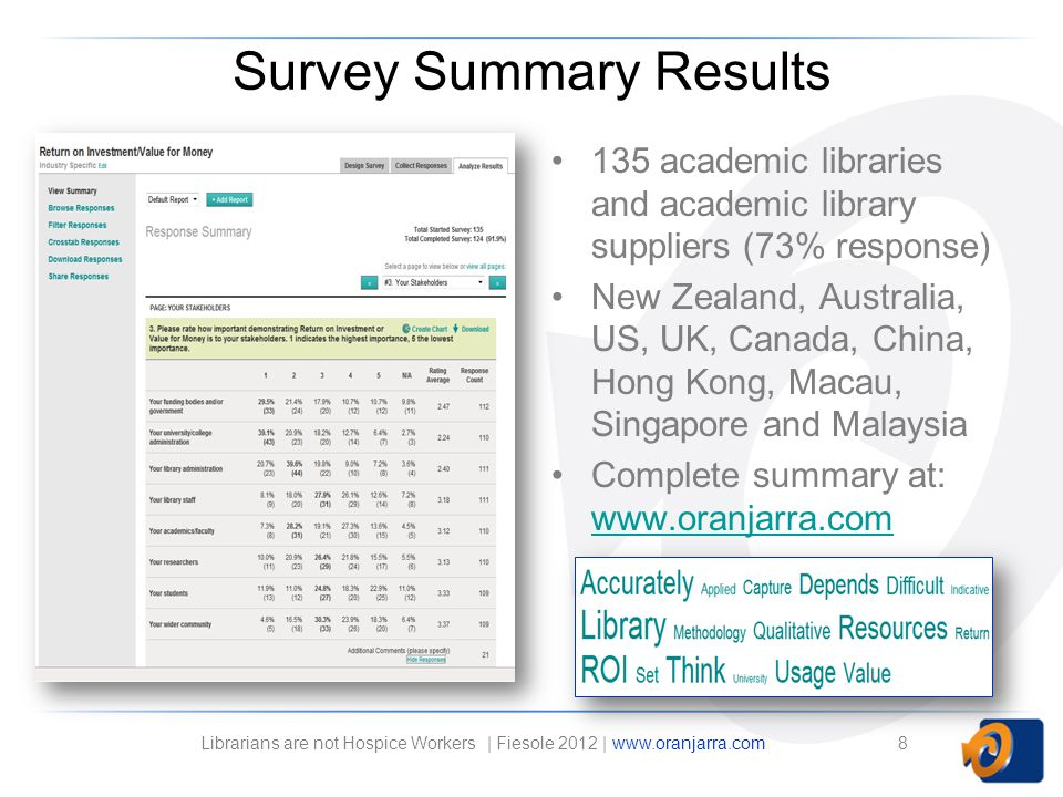 Survey Summary Results 135 academic libraries and academic library suppliers (73% response) New Zealand, Australia, US, UK, Canada, China, Hong Kong, Macau, Singapore and Malaysia Complete summary at: www.oranjarra.com www.oranjarra.com 8Librarians are not Hospice Workers | Fiesole 2012 | www.oranjarra.com
