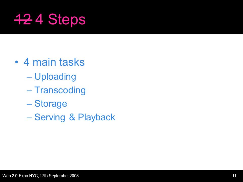 Web 2.0 Expo NYC, 17th September 200811 12 4 Steps 4 main tasks –Uploading –Transcoding –Storage –Serving & Playback