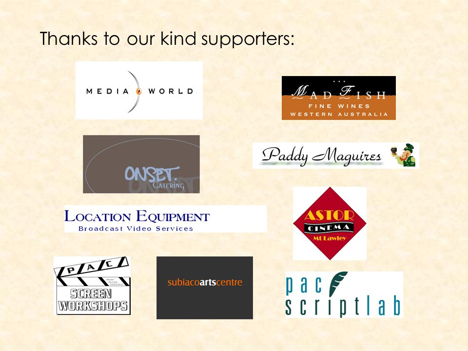 Thanks to our kind supporters: