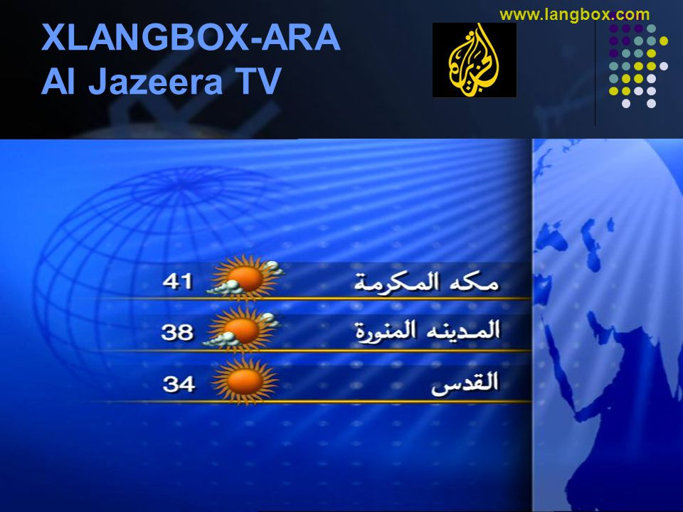 © Gulf Computers L.L.C. www.gulfcomputers.com www.langbox.com XLANGBOX-ARA Al Jazeera TV