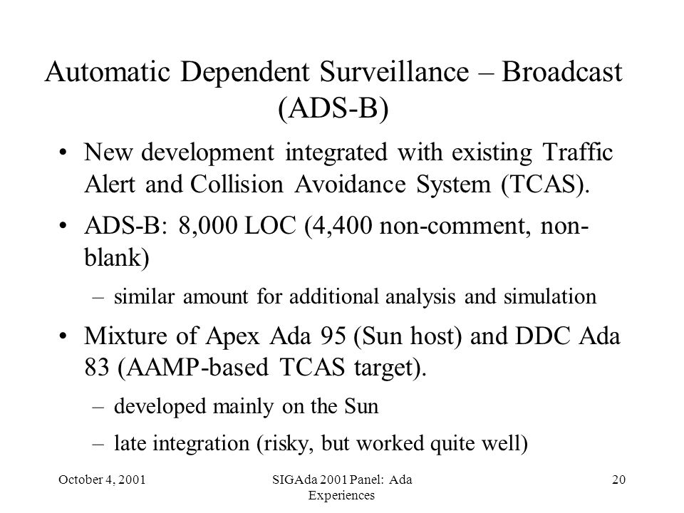 October 4, 2001SIGAda 2001 Panel: Ada Experiences 20 Automatic Dependent Surveillance – Broadcast (ADS-B) New development integrated with existing Traffic Alert and Collision Avoidance System (TCAS).
