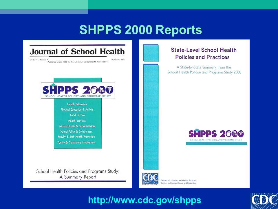 SHPPS 2000 Reports http://www.cdc.gov/shpps