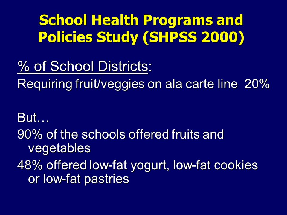 School Health Programs and Policies Study (SHPSS 2000) % of School Districts: Requiring fruit/veggies on ala carte line 20% But… 90% of the schools offered fruits and vegetables 48% offered low-fat yogurt, low-fat cookies or low-fat pastries
