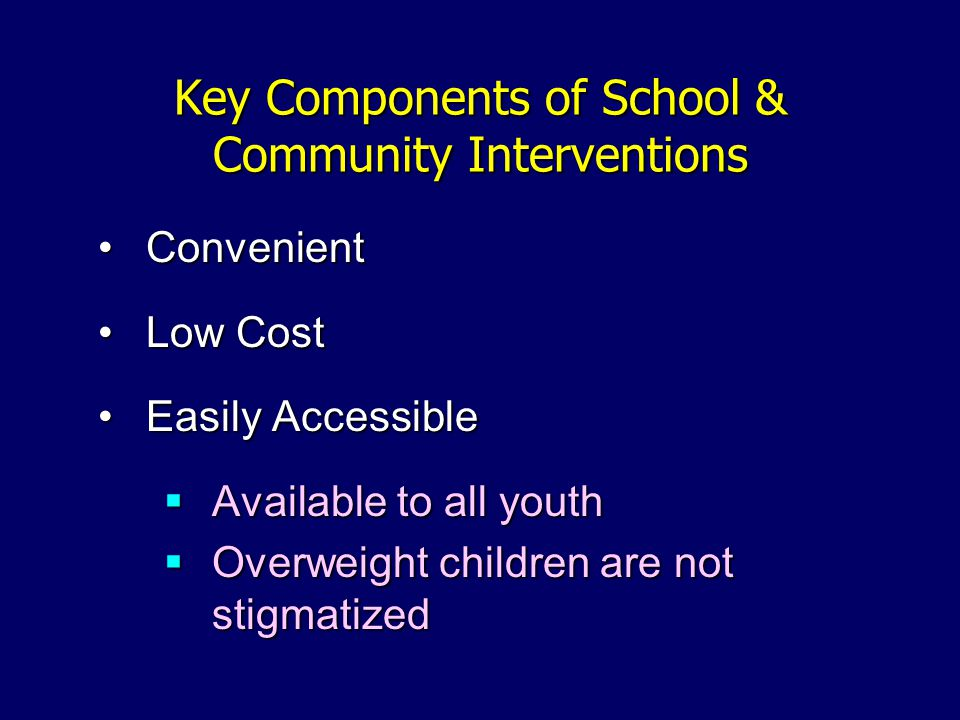 ConvenientConvenient Low CostLow Cost Easily AccessibleEasily Accessible Available to all youth Available to all youth Overweight children are not stigmatized Overweight children are not stigmatized Key Components of School & Community Interventions